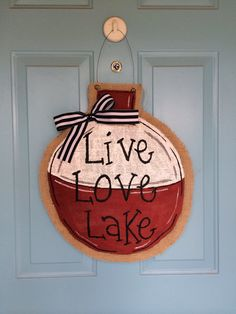 diy Live Love Lake burlap Fishing Bobber Door Hanger with bowknot - iron wire, home decor