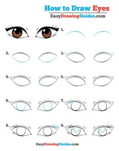 Learn How to Draw Eyes: Easy Step-by-Step Drawing Tutorial for Kids and Beginners. #Eyes #drawing #tutorial. See the full tutorial at https://easydrawingguides.com/how-to-draw-eyes-really-easy-drawing-tutorial/.