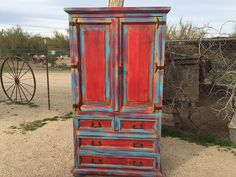SOLD--Wood distressed armoire, turquoise & red armoire, hand-painted armoire, upcycled, rustic, storage, dresser-SOLD