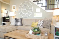 Beige couch with neutral walls