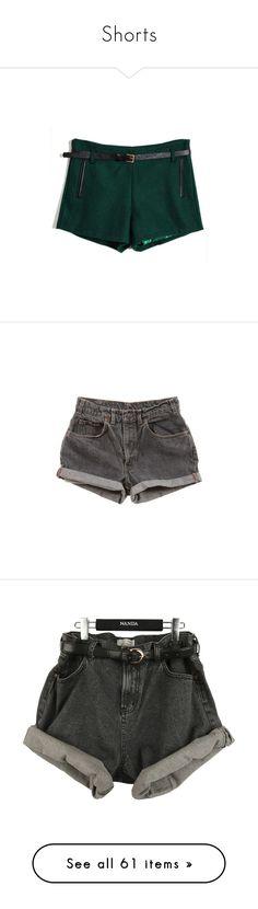 """""""Shorts"""" by violetrose74 ❤ liked on Polyvore featuring shorts, bottoms, pants, short, wool shorts, dark green shorts, reversible shorts, short shorts, pocket shorts and vintage denim shorts"""