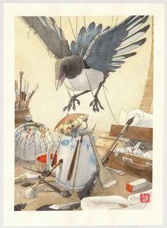 Frédéric Saurel - illustration originale - Souvenirs de Nant