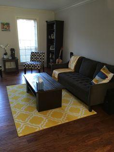 Living room yellow and gray