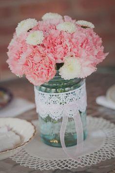 vintage pink mason jar wedding centerpiece