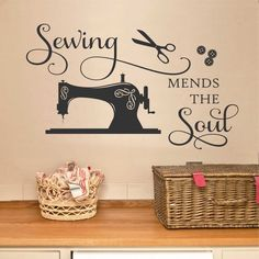 Craft Room Wall Decal Sewing Mends the Soul Seamstress Gift - Sewing Mends the Soul Vinyl Wall Lettering, Sewing Room Quote, Vintage Machine Decal - Sewing Room Decor, Sewing Room Organization, My Sewing Room, Sewing Spaces, Small Sewing Rooms, Organizing, Sewing Room Design, Bedroom Decor, Vintage Sewing Machines