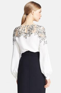 Embroidered Silk Blouse ivory 1