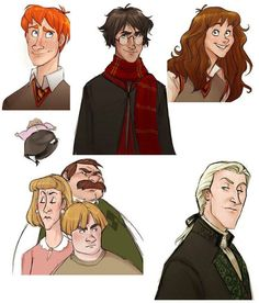 Disney Style Harry Potter Characters: Ron Weasley, Harry Potter, Hermione Granger, The Dursleys, and Lucius Malfoy.