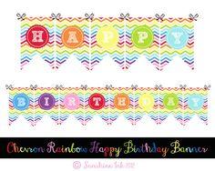 Chevron Rainbow Happy Birthday Banner by sunshineinkdigitals, $6.00