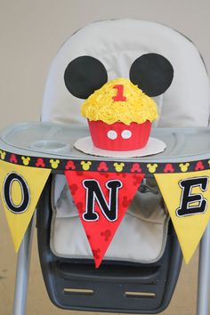 Mickey Theme Highchair Birthday Pennant. Each pennant piece measures approximately 91/2 inches long. With letter appliques attached to each.
