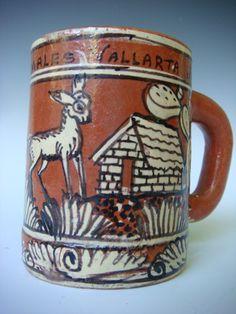 Old Vintage Mexican Pottery Tlaquepaque Ceramic Mug Cup Restaurant Los Comales | eBay