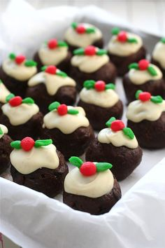 Christmas pudding truffles. I love a Christmas pudding recipe by Gordon, so I'd adapt his to this recipe. However, I don't like marzipan, so I would likely adapt a buttercream or sugar cookie based icing.