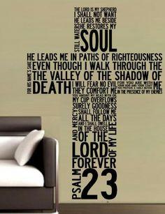 PSALM 23 CROSS BIBLE QUOTATION STICKER LRG VINYL DECAL