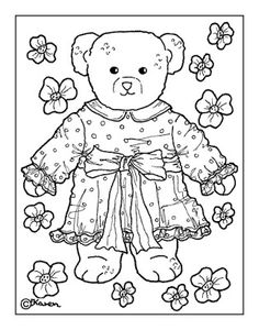 Karens Kravlenisser. Cut-outs and Colouring Pages. : Doll and Bear Postcards to Colour. Dukke og bamse postkort til at farvelægge.