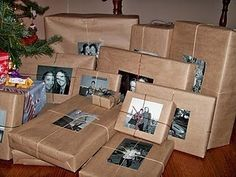 Place photograph of person or persons the brown paper wrapped gift is intended for. What a cute and clever idea!