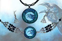 Bracelet pendant and earrigns set  Raven dark gothic