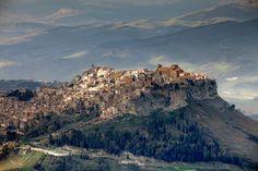 View of Hill Town, Calascibetta, Enna, Sicily, Italy