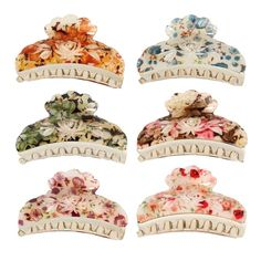 GSM Accessories 6 PCS Lot All Season Floral Acrylic Crystal Rhinestone Hair Clips Claws HC007X6 * Want additional info? Click on the image.