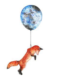 Jasmin Ekström Fox watercolor illustration