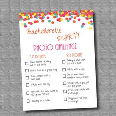 INSTANT DOWNLOAD / PDF: Bachelorette Party Game- Photo Challenge (Bright Colors) on Etsy, $5.00