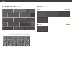 Ashberry Velour. Black. Face Brick. Belden. Behr. Olympic.  Click the gray Visit button to see the matching paint names.