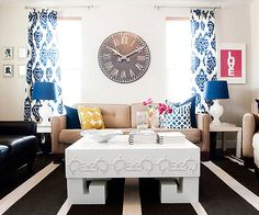 Bold blues pair perfectly with neutral brown hues. Big patterns pop without taking over the room. For more color palette ideas, look here: http://www.bhg.com/decorating/makeovers/6th-street-design-school-blog-house-tour/?socsrc=bhgpin010415bluebrownlivingroom&page=10