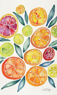 Bunter Kunstdruck von Orangen und Zitronen