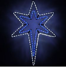 Christmas 4 led lighted star of bethlehem outdoor hanging prop snowflakes stars led bethlehem star with a blue center christmas lights etc mozeypictures Images