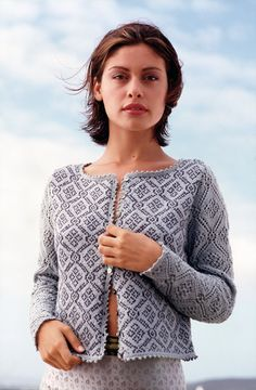 Knit this ladies round neck cardigan, a design by Louisa Harding from the Rowan archive Rowan Knitting, Sweater Knitting Patterns, Easy Knitting, Knitting Stitches, Knitting Designs, Knit Patterns, Cardigan Design, Cardigan Pattern, Knit Cardigan