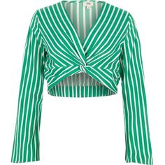 50cb45c7a6 River Island Green stripe long sleeve twist front crop top ( 60) ❤ liked on
