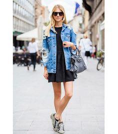 black dress and oversized denim jacket [ Find. Shop. Discover. www.specialteesboutique.com ]