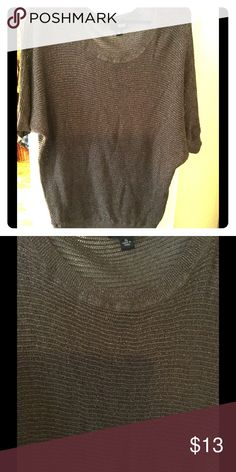 Short sleeved sweater blouse EUC. Brown with gold shimmer. XL ana Tops Blouses