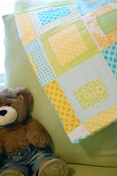 Turquoise, yellow, green quilt