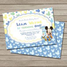 Mickey Mouse Birthday Party Invitation - PRINTABLE Baby Mickey First Birthday Invite