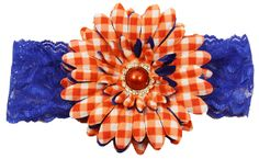 "4"" Red, White and Blue Daisy Hair Clip with Lace Headband $2.99"