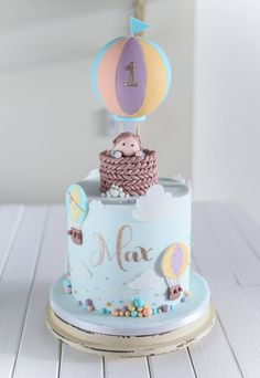 Baby Max and his hot air balloons - - baby kuchen - Baby shower ideas Baby Cakes, Baby Birthday Cakes, Birthday Parties, 1st Bday Cake, Boy Birthday, Birthday Ideas, Happy Birthday, Gateau Baby Shower, Baby Shower Cakes