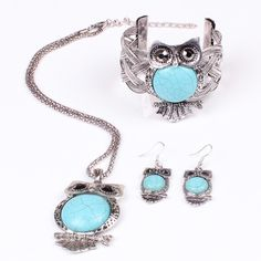 Set of Turquoise Owl Necklace, Bangle, & Earrings Beautiful and new! Jewelry Necklaces