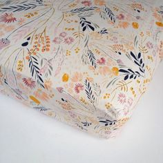 Girls Crib Bedding - Peach Gold Grey Blue Crib Sheets or Changing Pad Covers / Fitted Crib Sheet / Floral Nursery Bedding /Mini Crib Sheets