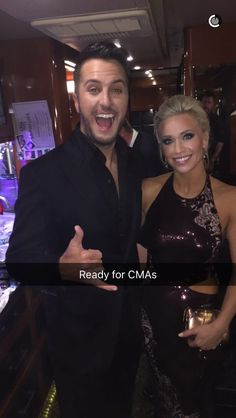 Luke Bryan and his wife Caroline Bryan ready for CMA's