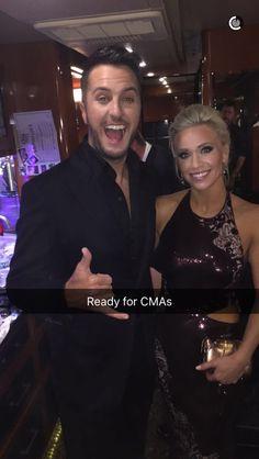 Luke Bryan and his wife Caroline Bryan ready for CMA's