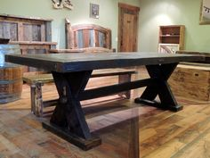 """Handcrafted Rustic Viking Dining Table - 40""""x97"""" - Wood from the bridge at Deep Well Ranch in West Yellowstone - Hand cut mortise and tenon - No nails or screws - Finished with polyurethane and wax for a smooth touch - $3,600"""