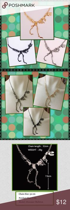 Punk cool dinosaur skeleton necklace Brand new in package 3 colors to choose from gold,black and darker silver ( not bright silver ) details please see 3rd picture Jewelry Necklaces