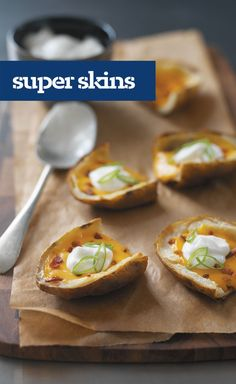 Super Skins — Save the baked potatoes out of their skins for another day. These loaded potato halves are skins only—filled with CHEEZ WHIZ, bacon bits and sour cream.