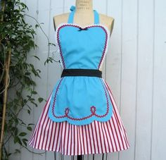 Items similar to Retro apron FIFTIES Diner Waitress .RETRO turq red stripes womens full apron ice cream parlor vintage inspired on Etsy Fashion Art, Retro Fashion, Vintage Fashion, Red Apron, Apron Dress, Fifties Diner, Vintage Diner, Disney Aprons, Cool Aprons