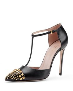 Studded T-Strap Cap-Toe Pump, Nero by Gucci at Neiman Marcus.