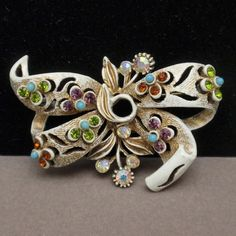 Bow Pin White Japaned Metal and Rhinestones Vintage Florenza | eBay