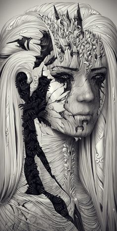 "Echo  by *JAY-WALLACE (http://jay-wallace.deviantart.com/)  ""An astonishing, breath-taking abstract portrait with a staggering amount of detail."""