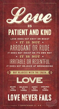 Love is Patient and Kind 1 Corinthians 13:4-8 Love by RandysDesign