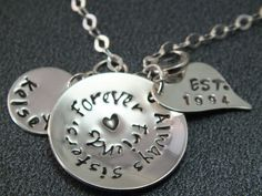 Sister Necklace  Hand Stamped Sister Jewelry   by TheSilverWing, $60.00