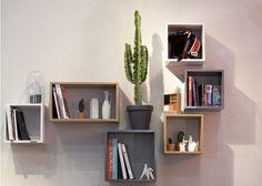 cubes bibliothèque en bois ou en laque brillante Cubes, Storage Shelves, Floating Shelves, Decoration, Bookcase, Sweet Home, Interior, Images, Loft