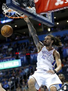 Oklahoma City's Steven Adams (12) dunks the ball during the NBA game between the Oklahoma City Thunder and Melbourne United at the Chesapeake Energy Arena Sunday, Oct. 8, 2017. Photo by Sarah Phipps, The Oklahoman